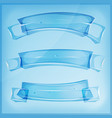 transparent glass or crystal banners and ribbons vector image
