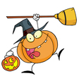 Halloween Happy Pumkin With A Broom vector image vector image