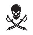 Black skull with swords isolated on white vector image