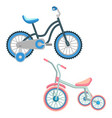 set of bicycles for children realistic vector image