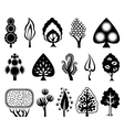Set of decorative graphic trees vector image