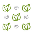 Set of hand-drawn simple green eco leaves icons vector image