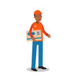 smiling delivery man standing and holding big vector image