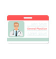 general physician medical specialist badge vector image vector image