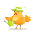funny chicken gardener wearing a green hat vector image