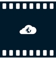 Flat paper cut style icon of cloud with globe vector image
