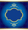 blue elegant card with golden decor vector image