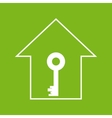 House with key White on green vector image