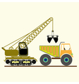monochrome icon with construction equipment vector image