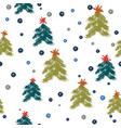 seamless pattern with hand drawn blue snowflakes vector image