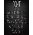 Hand-drawn stylish slim font vector image