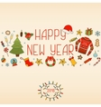 New Year decorations Hand drawn elements vector image