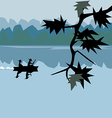 river and a beautiful landscape vector image
