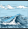 sea wave landscape stylized graphics vector image