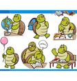 turtle character student cartoon set vector image