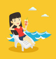 woman relaxing on beach chair vector image