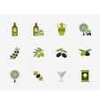 Olive flat icons set vector image vector image