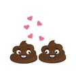 Two cute poop fall in love flirting vector image