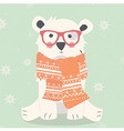 Merry Christmas postcard with hipster polar white vector image