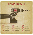 hand with drill home repair concept vector image