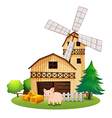A pig in front of the farmhouse with a windmill vector image vector image