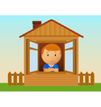 Boy in the wooden house vector image