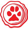 Dog paw emblem vector image