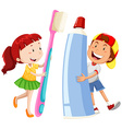 Boy and girl with giant toothbrush and paste vector image