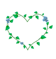 Vine Leaves with Blossoms in A Beautiful Heart vector image