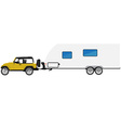 Car with trailer vector image