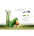 cream cosmetic realistic mock up package avocado vector image