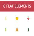 flat icons bulgarian bell pawpaw radish and vector image