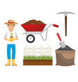 gardening equipment set flat icons vector image