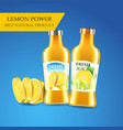 realistic bottles with lemon juice and vitamins vector image