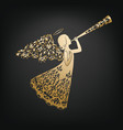 stylish angel with floral wings and nimbus vector image