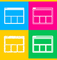 web window sign four styles of icon on four color vector image