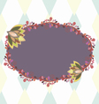 Purple oval frame with floral elements vector image
