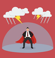 Businessman superhero with barrier protecting from vector image