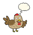 cartoon old rooster with thought bubble vector image