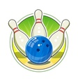Bowling ball and skittles for vector image