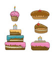 happy birthday with cakes deco and candles vector image