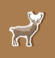 paper sticker on stylish background deer vector image