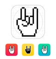 Pixel rock hand icon vector image