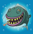 smiling cartoon fish smoking marijuana vector image