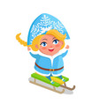 snow maiden with blue eyes blonde hair on sleigh vector image