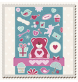 Valentines Day scrapbook card vector image