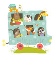 cute animals traveling by bus vector image