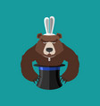 magical hat and bear magic trick predator vector image