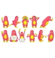 set of cute pink monsters vector image