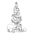 Christmas tree icon Abstract sketch vector image
